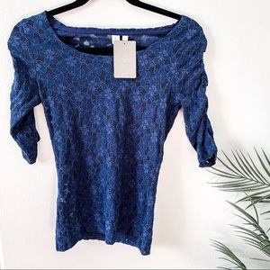 NWT Anthropologie | E by Eloise Navy Lace Top